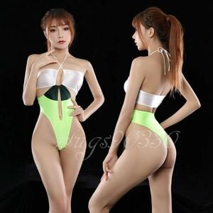 最新作 白・緑・濃緑 ☆超sexy 光沢 つるつる コスチューム RQ レースクイーン 衣装♪ 競泳水着 ハイレグ レオタード ハイス