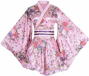ピンク ワンサイズ セクシー 着物ドレス 花魁 コスプレ衣装 ショート丈 花柄 和服 コスチューム 浴衣 ナイトドレス (ピンク