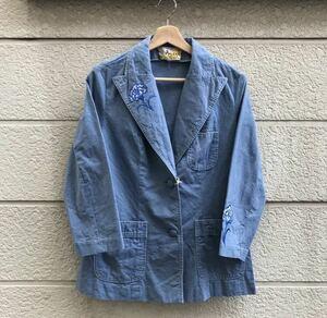希少 70s US古着 レディース テーラードジャケット 刺繍ジャケット 花柄刺繍 デニムテーラードジャケット vintage ヴィンテージ