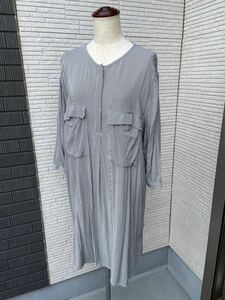 【H&M】シャツワンピース・トップス・レーヨン素材・グレー/クロ・170/96A(EUR42)