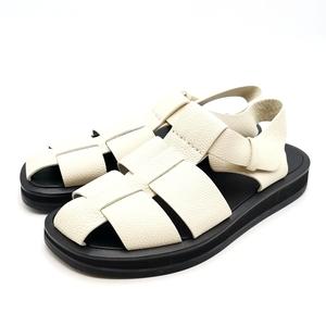 送料無料 超美品 ザロウ THE ROW サンダル ミュール 靴 シューズ フィッシャーマン レザー 37 23.5-24cm相当 オフホワイト系 レディース