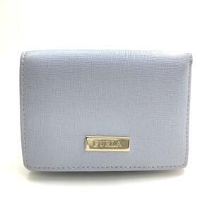 送料無料 フルラ FURLA 財布 三つ折り 両面開き 定期入れ パスケース コンパクト ミニウォレット レザー 水色系 レディース