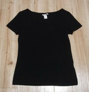 ◆ H&M BASIC 黒 半そで Tシャツ ◆ シンプル ブラック カットソー Sサイズ ◆ USED ◆