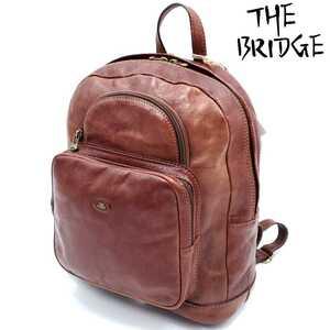 定価10万以上イタリア製◆THE BRIDGE◆老舗オールレザーバックパック茶ブラウン本革メンズリュックサック本皮ザブリッジ袋付きビンテージ