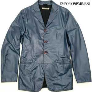 イタリア製◆EMPORIO ARMANI◆最高級レザーテーラードジャケット46メンズMLネイビー青エンポリオアルマーニ本皮ジョルジオ本革牛革ジャン