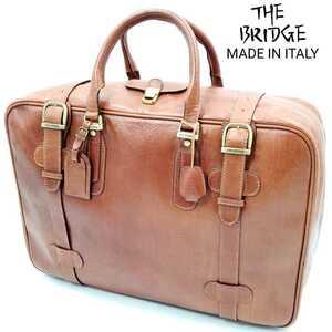 定価20万以上イタリア製◆THE BRIDGE◆特大レザートランク茶ブラウン鍵付きメンズアタッシュケース本革ザブリッジ旅行鞄アンティークバッグ