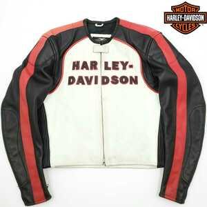 M'zP別注◆HARLEY-DAVIDSON◆レザーライダースジャケット白黒メンズL本革ハーレーダビッドソン皮シングルライディングツーリング牛革ジャン