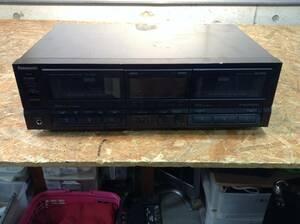 w210924-005B5 Panasonic RS-TR355 ダブルカセットデッキ 黒 ジャンク 通電未確認 昭和 レトロオーディオ カセット