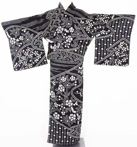 絞り訪問着 袷 正絹 黒 白 遠山 花文様 Lサイズ ki20907 着物 レディース オールシーズン 送料無料 シルク100% 新品