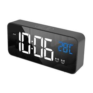 ★最安値★デジタル●時計●LED●目覚まし ミラー 多機能 温度 カレンダー 壁掛け 卓上 アラーム スヌーズ USB ブラック