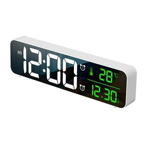 ★最安値★デジタル●時計●LED●目覚まし ミラー 多機能 温度 カレンダー 壁掛け 卓上 アラーム スヌーズ USB ホワイト 1