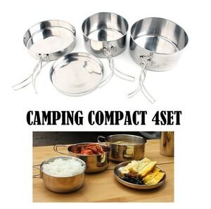 キャンプ食器 ステンレス 4点セット 鍋 フライパン アウトドア 被災 震災 釣り ハーレー ソロキャンプ キャンプ調理器具