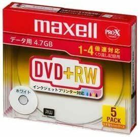 maxell 5mmケース入 5枚 4.7GB インクジェットプリンタ対応ホワイト 4倍速対応 DVD+RW データ用 D+RW
