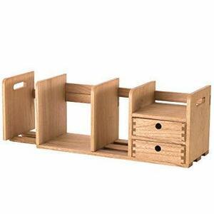 大人気■ 幅802㎜ KIRIGENデスク上置棚スライド式 木製書棚 ストレージ本棚 卓上収納ケース組立不要 デスク収納ボックス 引出付