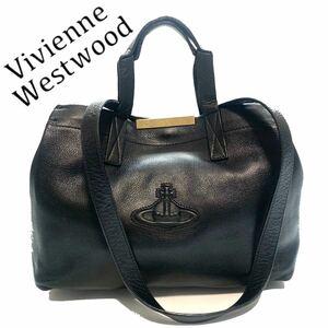 【送料無料】ヴィヴィアンウエストウッド 2way トートバッグ ハンドバッグ レザー 黒 レディース ゴールド オーブ ロゴ ブラック