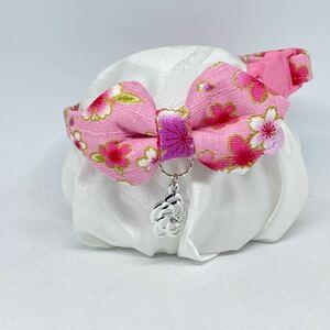 【149-ピンク】ハンドメイド猫首輪 和柄 ピンク