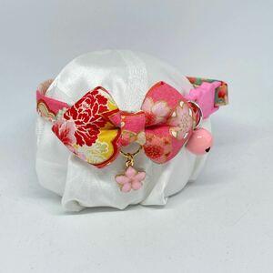 【155-ピンク】ハンドメイド猫首輪 和柄 ピンク