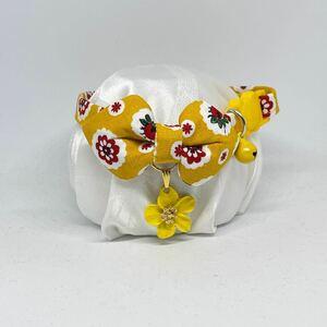 【192-B -黄色】ハンドメイド猫首輪 北欧風 黄色