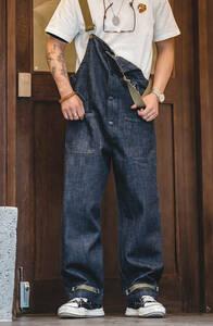 海軍 デッキ オーバーオール サロペット デニム カジュアルパンツ カーゴパンツ ゆったり 大きいサイズ 男前 アメカジ
