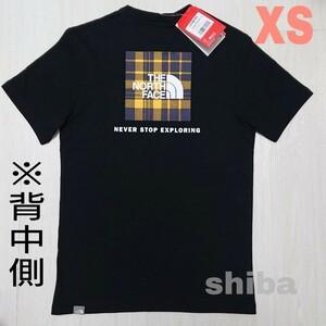 THE NORTH FACE ノースフェイス tシャツ 半袖 トップス 海外限定 ブラック 黒 レッドボックス チェック 海外XS