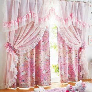 極美品★計4枚《横巾100×縦丈135cm》ハローキティ ピンク リボン フリルカーテン 厚地カーテン 遮光カーテン サンリオ