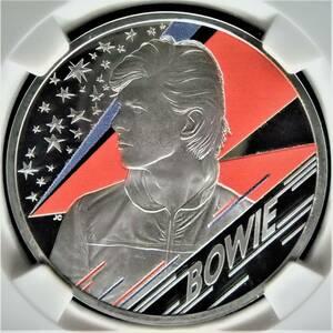 最高鑑定♪ ファーストリリース 2020年 イギリス ロイヤルミント ミュージック デビッド ボウイ 1オンス 2ポンド 銀貨 コイン NGC PF70UC