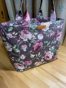 ロココ調薔薇ブラウン 外部全面ファスナー付き 大きめトートバッグ