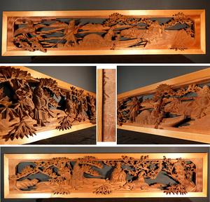 ☆3S☆越中井波彫刻 木彫り 細密七福神彫刻欄間一対 在銘 縁起物