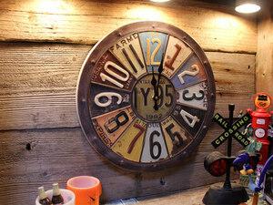 1円 新品 サビた雰囲気が最高 ナンバープレート 時計 アンティークデザイン 壁掛け時計 ガレージ アメリカンインテリア