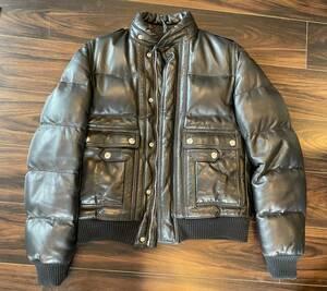 美品 DiorHomme 羊革レザーライダース ダウンジャケット 中綿 44 ディオールオム