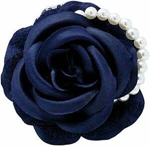 ネイビー コサージュ 薔薇 入学式 コサージュ フォーマル 2way ばら 花 ヘッドドレス 卒業式 コサージュ結婚式 髪飾り