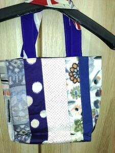 パッチワークトートバッグ 中袋付き 着物リメイク  ハンドメイド  手提げバッグ