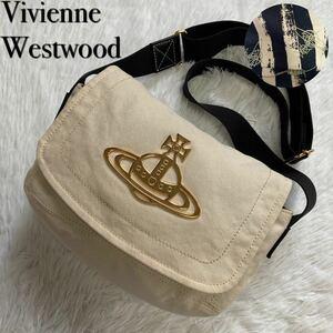 Vivienne Westwood ヴィヴィアンウエストウッド ショルダーバッグ エッジ キャンバス 革 オフホワイト 白 オーブ ゴールド金具 斜め掛け