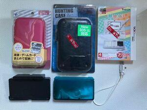 3DS本体 ジャンク 充電台+充電ケーブル付き アクセサリーセット(新品)+ケース2個(新品)付き 送料無料