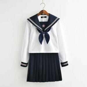 セーラー服 長袖 上着+スカート+リボンセット コスチューム コスプレ衣装 女子高生 学生服 ハロウィン仮装 制服