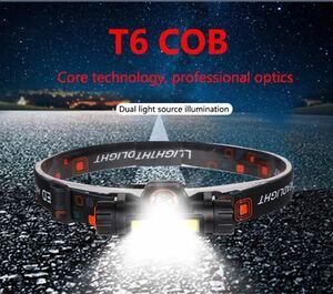 格安!高輝度LEDヘッドライト・ヘッドランプT6+COB USB充電式、防水機能、2モード 作業灯、ランタン、ヘルメットライト