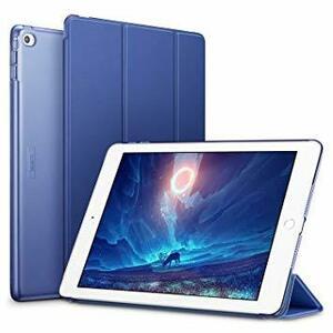 イッピー_ネイビーブルー ESR iPad Air2 ケース 軽量 薄型 オートスリープ スタンド機能 半透明ー PUレザー 傷