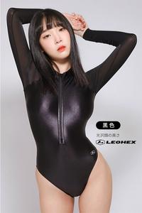 ☆送料込み☆JG-E Mサイズ ブラック 高品質 長袖 LEOHEX コスプレ ハイレグ レオタード 競泳 スクール水着 レースクイーン