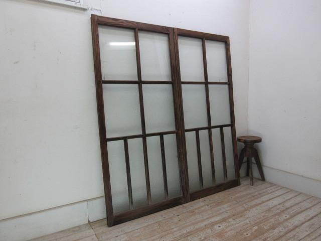 古い木味ダイヤガラスの窓2枚組B223    アンティーク建具引き戸扉ドア戸窓玄関店舗什器カフェ什器無垢材古家具