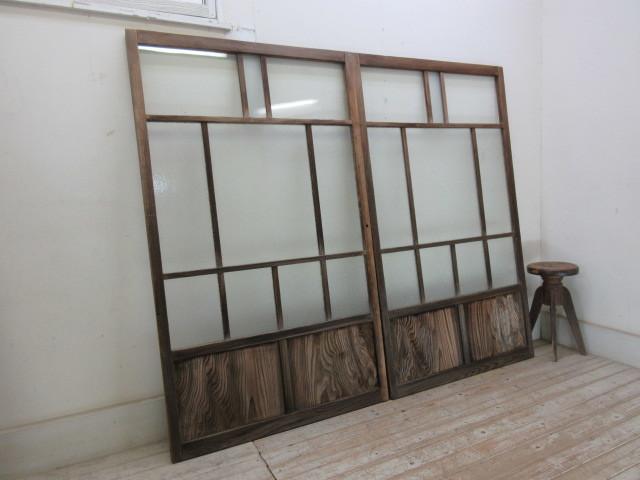 古い木味ダイヤガラスの窓2枚組B226    アンティーク建具引き戸扉ドア戸窓玄関店舗什器カフェ什器無垢材古家具