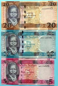 世界の紙幣【南スーダン共和国】初代サルバ・キール大統領 20~5ポンドの三種 2015~16年 未使用 一円~