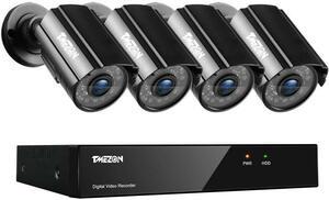 [新品/送料無料] TMEZON 防犯カメラセット 4CH防犯防犯レコーダー& HD 1280TVL 720P画素 屋内屋外 CCTVカメラ4台 PC遠隔監視 日本語説明書
