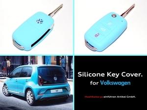 ◆ 【希少】【送料120円~】 VW シリコン キーカバー ケース 【水色】 ◆ up! ポロ ゴルフ ビートル トゥーラン シロッコ VW車に広く対応