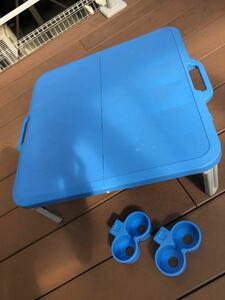 折りたたみピクニックテーブル ドリンクホルダー付 60x60x22