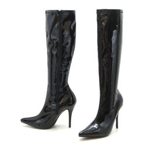 新品 大きいサイズ ロングブーツ ブラック 26cm 135325-42 12cmヒール エナメル調 ハイヒール