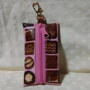 リール付きキーケース(ベルト付き)★チョコレート柄★ ランドセルキーケース ハンドメイド