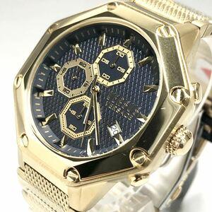 【大人気】ヴェルサス/ヴェルサーチ 人気モデル ゴールド ブラック クロノグラフ メンズ腕時計 海外 クォーツ オクタゴンベゼル