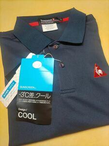 新品 Le coq sportif GOLF ルコックゴルフSUNSCREEN 吸汗速乾 半袖刺繍ポロシャツ QGMPJA62AT-NV00 サイズL