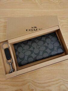 コーチ COACH 長財布 メンズ PVC ブラック F75013 小銭入れあり 新品未使用