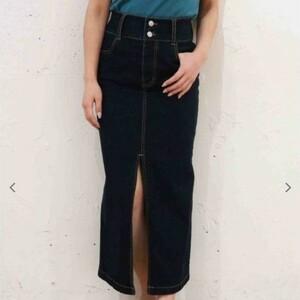 スカート デニムロングタイトスカート スリット ロングスカート ロイヤルパーティー インディゴブルー Sサイズ